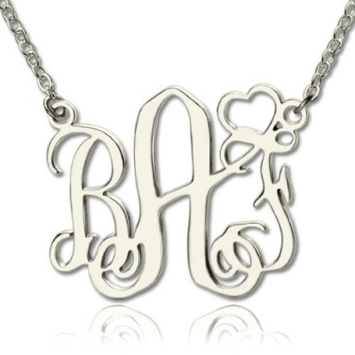 Personalised Initial Monogram Necklace With Heart Srerling Silver - Crafted By Birthstone Design™