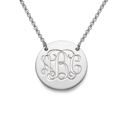 Monogram Disc Necklace in Sterling Silver - Crafted By Birthstone Design™
