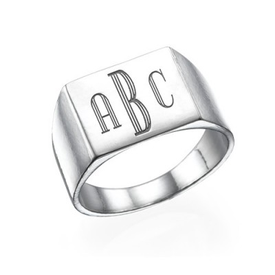 Monogrammed Signet Ring in Silver - Crafted By Birthstone Design™