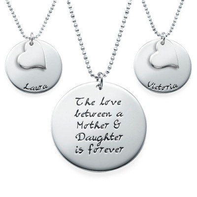 Mother Daughter Gift - Set of Three Engraved Necklaces - Crafted By Birthstone Design™