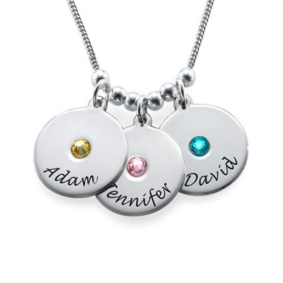 Mother's Disc and Birthstone Necklace  - Crafted By Birthstone Design™