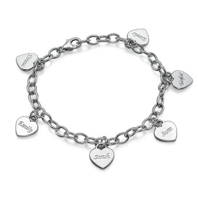 Mum Charm Bracelet/Anklet with Personalised Hearts - Crafted By Birthstone Design™