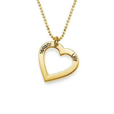 18k Gold Plated 0.925 Silver Engraved Necklace - Heart - Crafted By Birthstone Design™