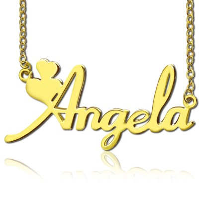 Personalised Solid Gold Fiolex Girls Fonts Heart Name Necklace - Crafted By Birthstone Design™