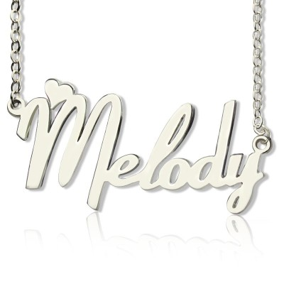 Personalised 18ct White Gold Plated Fiolex Girls Fonts Heart Name Necklace - Crafted By Birthstone Design™
