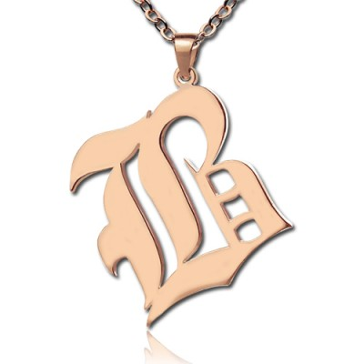 Rose Gold Plated Initial Necklace Old English Style - Crafted By Birthstone Design™