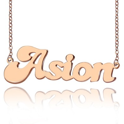 Personalised 18ct Rose Gold Plated BANANA Font Style Name Necklace - Crafted By Birthstone Design™