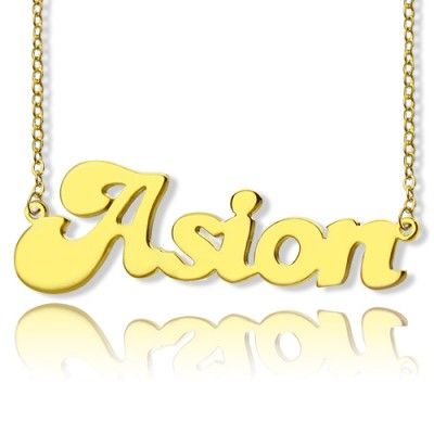 Personalised 18ct Gold Plated BANANA Font Style Name Necklace - Crafted By Birthstone Design™