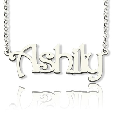 925 Sterling Silver Harrington Font Name Necklace - Crafted By Birthstone Design™