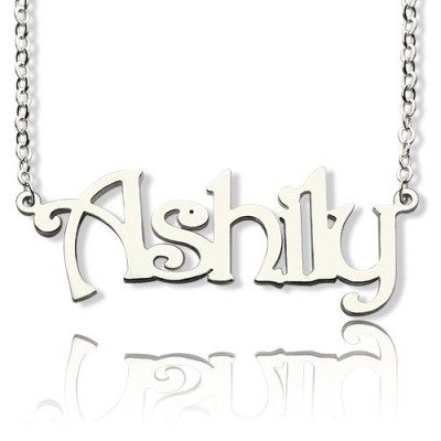 Sterling Silver Harrington Font Name Necklace - Crafted By Birthstone Design™
