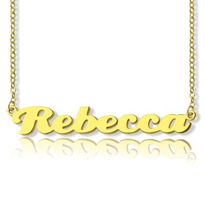 Personalised 18ct Solid Gold Puff Font Name Necklace - Crafted By Birthstone Design™
