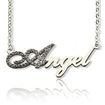 Sterling Silver Script Name Necklace-Initial Full Birthstone  - Crafted By Birthstone Design™