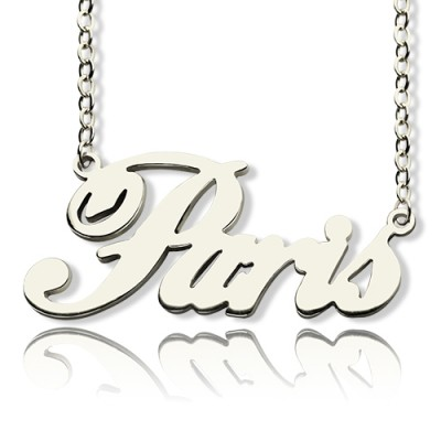 Paris Hilton Style Name Necklace 18ct Solid White Gold Plated - Crafted By Birthstone Design™