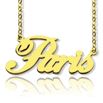 Paris Hilton Style Name Necklace 18ct Solid Gold - Crafted By Birthstone Design™