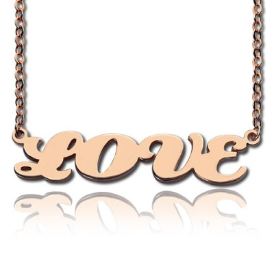 18ct Rose Gold Plated Capital Puff Font Name Necklace - Crafted By Birthstone Design™