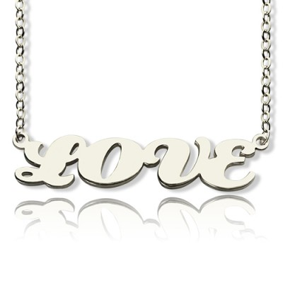 18ct White Gold Plated Capital Puff Font Name Necklace - Crafted By Birthstone Design™