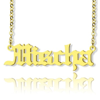 Mischa Barton Old English Font Name Necklace 18ct Gold Plated - Crafted By Birthstone Design™