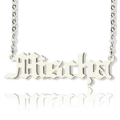 Mischa Barton Style Old English Font Name Necklace 18ct White Gold Plated - Crafted By Birthstone Design™
