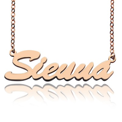 18ct Rose Gold Plated Sienna Style Name Necklace - Crafted By Birthstone Design™