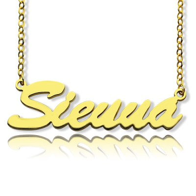 18ct Gold Plated Sienna Style Name Necklace - Crafted By Birthstone Design™