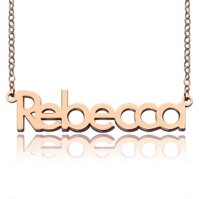 18ct Rose Gold Plated Rebecca Style Name Necklace - Crafted By Birthstone Design™