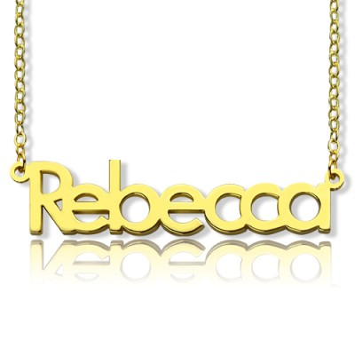 """Nameplate Necklace 18ct Gold Plating """"Rebecca"""" - Crafted By Birthstone Design™"""