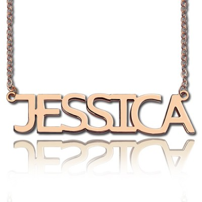 Solid Rose Gold Plated Jessica Style Name Necklace - Crafted By Birthstone Design™