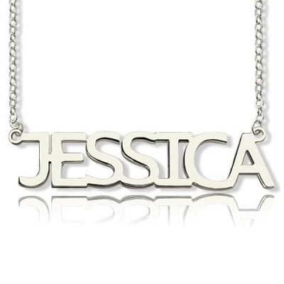 """Block Letter Name Necklace Silver - """"jessica"""" - Crafted By Birthstone Design™"""