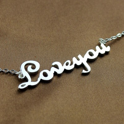 Personalised Sterling Silver Cursive Name Necklace - Crafted By Birthstone Design™
