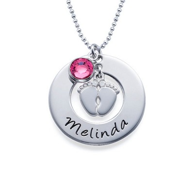 New Mum Necklace with Baby Feet - Crafted By Birthstone Design™