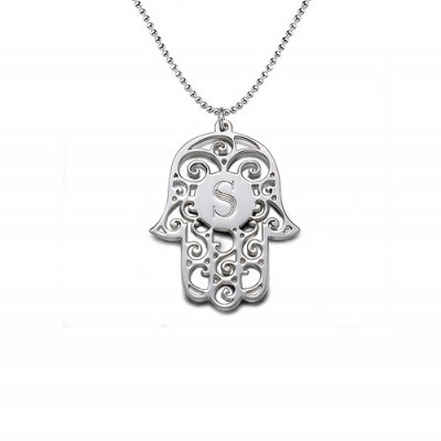 Silver Personalised Initial Hamsa Necklace - Crafted By Birthstone Design™