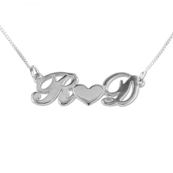 Personalised Silver Couples Heart Necklace - Crafted By Birthstone Design™