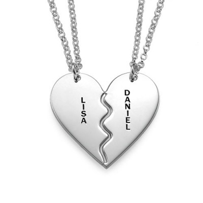 Personalised Silver Breakable Heart Necklaces - Crafted By Birthstone Design™