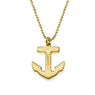 18ct Gold Plated Sterling Silver Anchor Necklace - Crafted By Birthstone Design™