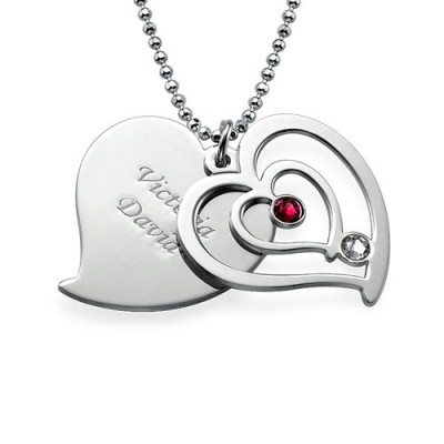 Personalised Couples Birthstone Heart Necklace  - Crafted By Birthstone Design™