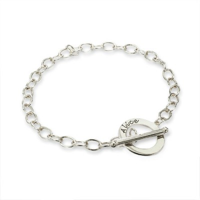 Personalised Sterling Silver T-Bar Bracelet/Anklet - Crafted By Birthstone Design™