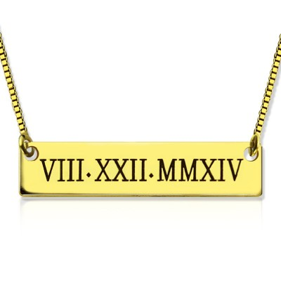 Personalised Roman Numeral Bar Necklace 18ct Gold Plated - Crafted By Birthstone Design™