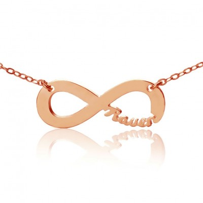 Rose Gold Plated Infinity Necklace Cut Out Name - Crafted By Birthstone Design™