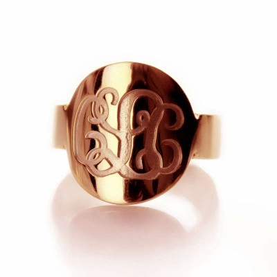 Engraved Script Rose Gold Monogrammed Ring - Crafted By Birthstone Design™