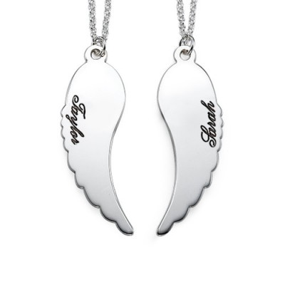 Set of Two Sterling Silver Angel Wings Necklace - Crafted By Birthstone Design™