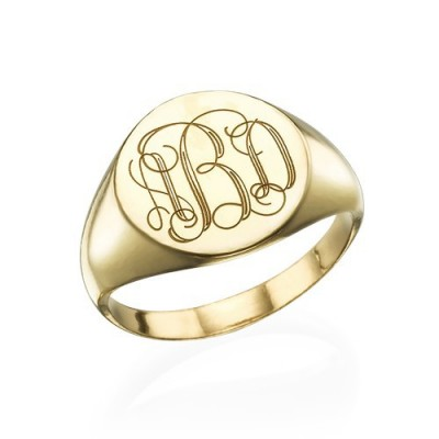 Signet Ring in Gold Plating with Engraved Monogram - Crafted By Birthstone Design™