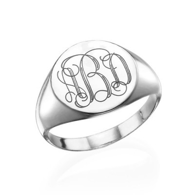 Signet Ring in Sterling Silver with Engraved Monogram - Crafted By Birthstone Design™