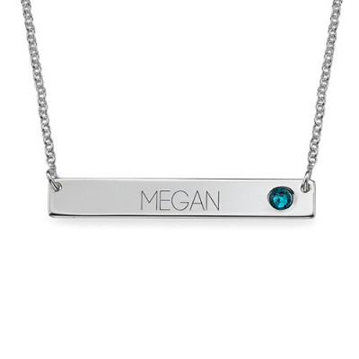 Silver Bar Necklace with Birthstone  - Crafted By Birthstone Design™