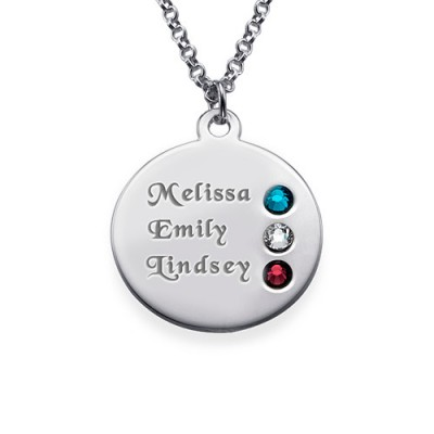 Silver Birthstone Necklace for Mum Inscriptions (1-3)  - Crafted By Birthstone Design™