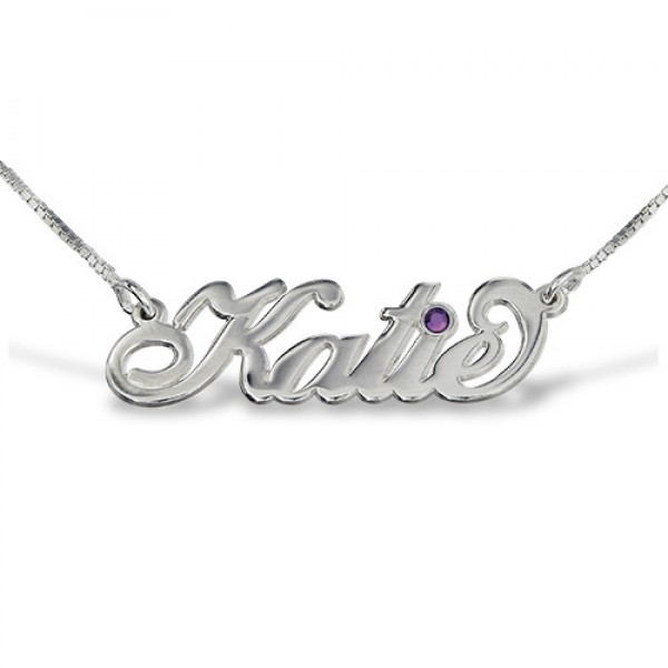 "Silver ""Carrie"" Style Swarovski Name Necklace - Crafted By Birthstone Design™"