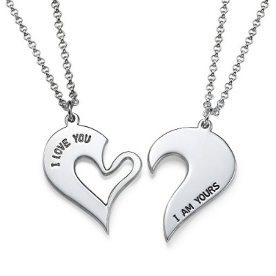 Silver Couples Breakable Heart Necklace - Crafted By Birthstone Design™
