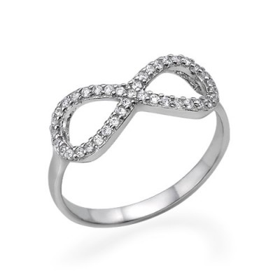 Silver Cubic Zirconia Encrusted Infinity Ring - Crafted By Birthstone Design™