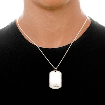 Father's Day Gifts - Silver Dog Tag Necklace - Crafted By Birthstone Design™