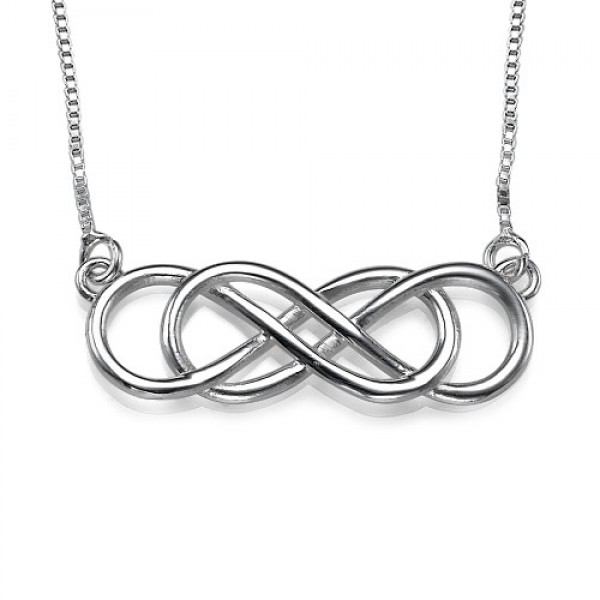Silver Double Infinity Necklace - Crafted By Birthstone Design™
