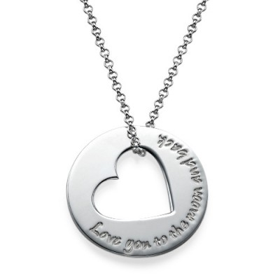 Silver Engraved Necklace with Heart Cut Out - Crafted By Birthstone Design™